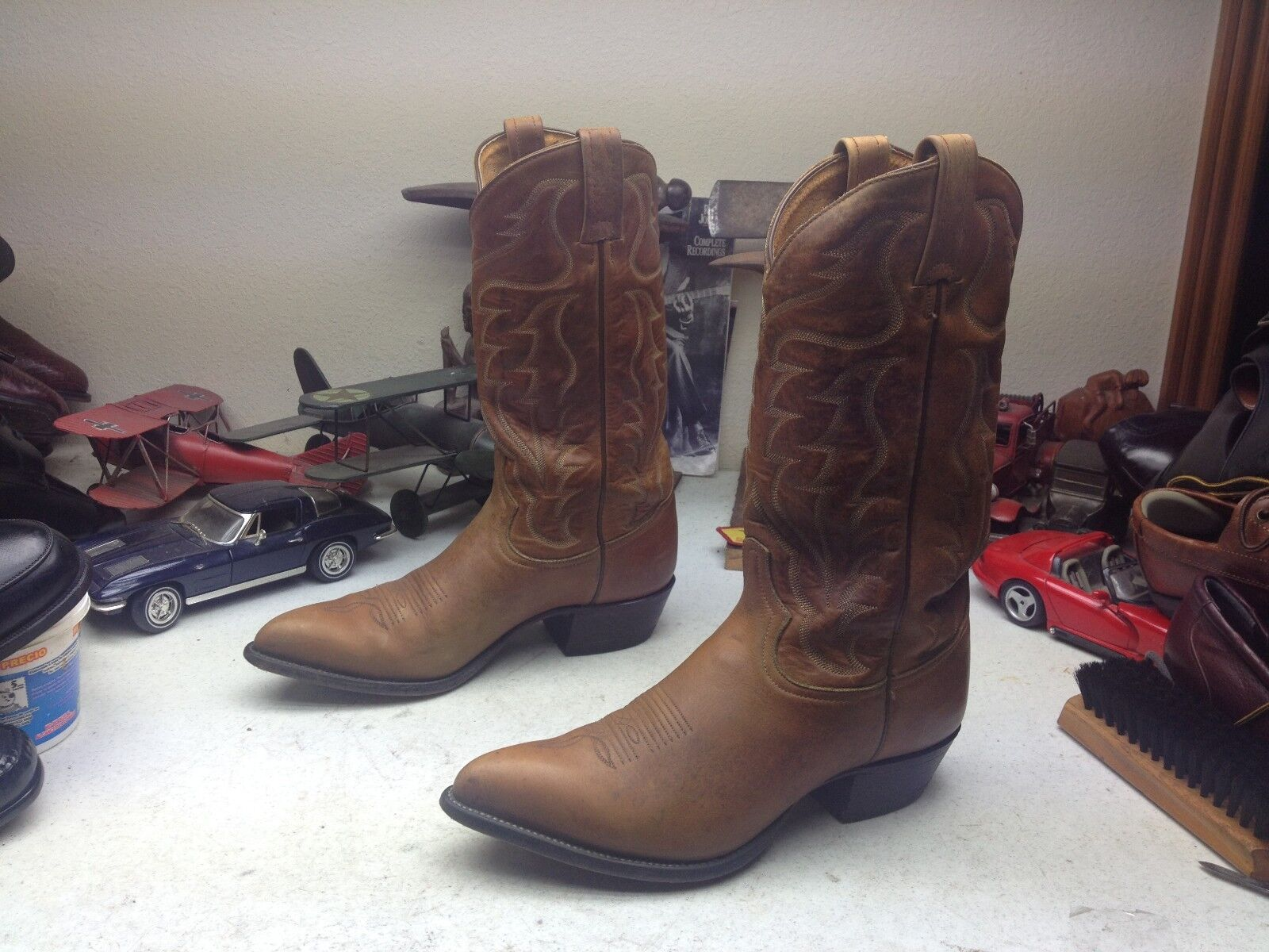 TONY LAMA BROWN LEATHER WESTERN TRAIL RODEO BOSS RANCH WORK RODEO TRAIL COWBOY BOOTS 9.5D e581f6