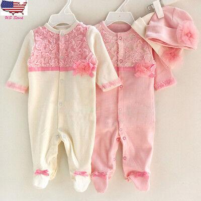 2pcs Newborn Toddler Kids Baby Girl Long Sleeve Romper Jumpsuit Playsuit Set