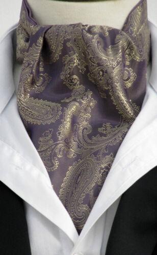 Silky Square Pocket Satin amp; Aubergine Mens Gold Uk Ascot Cravat Made Paisley xZFqISf