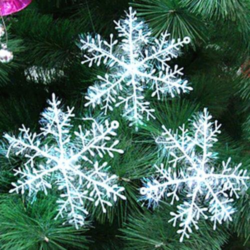30Stk 11cm Kunststoff Weiß Schneeflocken Weihnachten Xmas Baum Dekor  Ornam G5S9