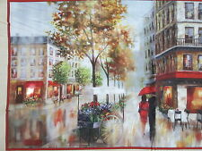 PARIS ROMANCE STREETS ARTWORK DIGITAL PRINTED COTTON PANEL FABRIC