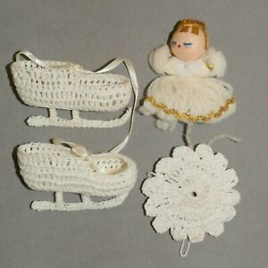 Christmas-Ornament-Crochet-Angel-Skates-Doily-Lot-ofRANA-039-S-VARIETY-USA-SELLER