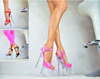 Designer Damenschuhe Club-Party SUPER SCHICKE Plateau GOGO Party Pumps Schwarz