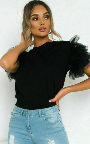 Femme Femmes En Cuir Synthétique Tutu Tulle Frill Puff manches courtes Parti T-shirt Top