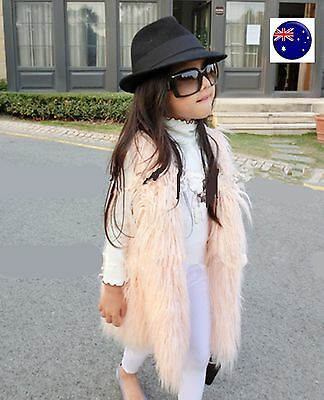 NEW Girls Kids Children Chic Fashion Pink Fluffy Faux long Fur Vest Top 2-9Years
