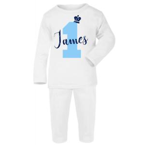 Personnalisé Premier Anniversaire pyjamas bébé garçon