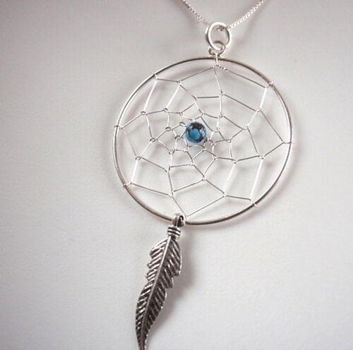 Turquoise dream catcher collier argent sterling 925 avec sacré en plumes