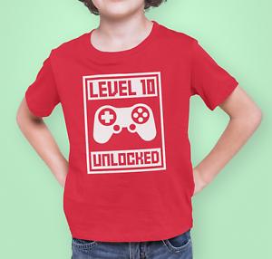Level Unlocked Gamer T-Shirt Birthday Boy Personalised Age Level Tee top