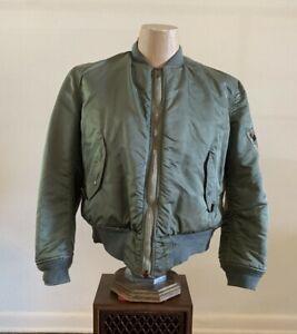J/_001 Vintage 80/'s army green leather woolen bomber jacket