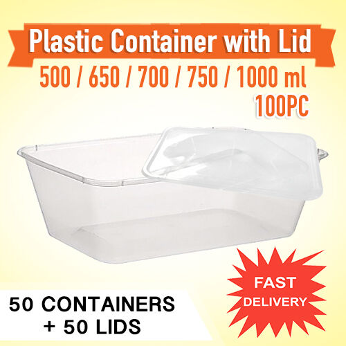 Disposable Rectangular Plastic 50PC Containers & Lids 50PCSydney Only