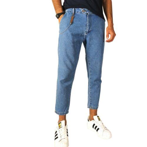 Jeans Uomo Cavallo Basso Denim Blu Chiaro Pantaloni Modello Capri Made In Italy