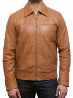 Mens Classic Leather Biker Jacket Harrington Tan BNWT 100% Real Leather S-5XL