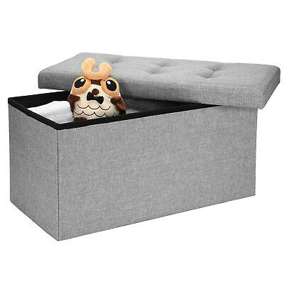 Storage Ottoman Coffee Bench Living Room Home Foot Stool Poly Linen Organizer