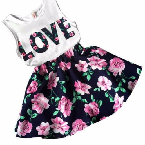 Set Clothes Girls Love Letters Printed Sleeveless Vest Tops Floral Skirt+Dress