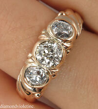 1.49CT ANTIQUE VINTAGE OLD MINE DIAMOND 3 STONE ENGAGEMENT WEDDING RING 14KG