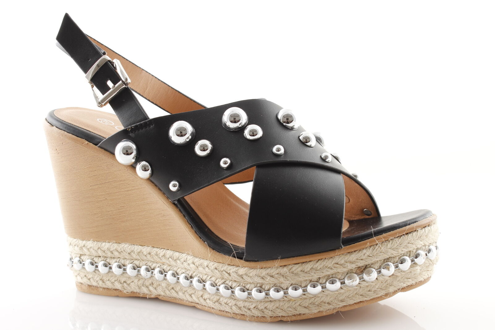 Women's sandals with high eco-leather wedge heel plateau studs eco-leather high black summer 3469b3