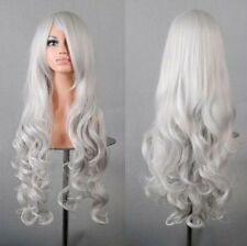 "32"" 80cm Long Hair Heat Resistant Spiral Curly Cosplay Wig(Silver White)"
