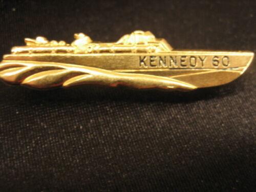 John F Kennedy 60 Pin ~ 1960 Campaign Pin PT Boat Pin ~ JFK ~ Gold-tone