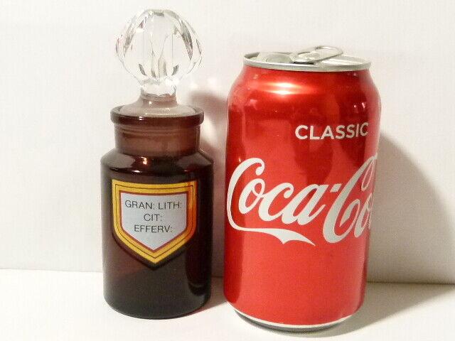 20thC gran  Lith  CIT  Efferv  Botella de químicos Amatista & Tapón furnisher 14cm