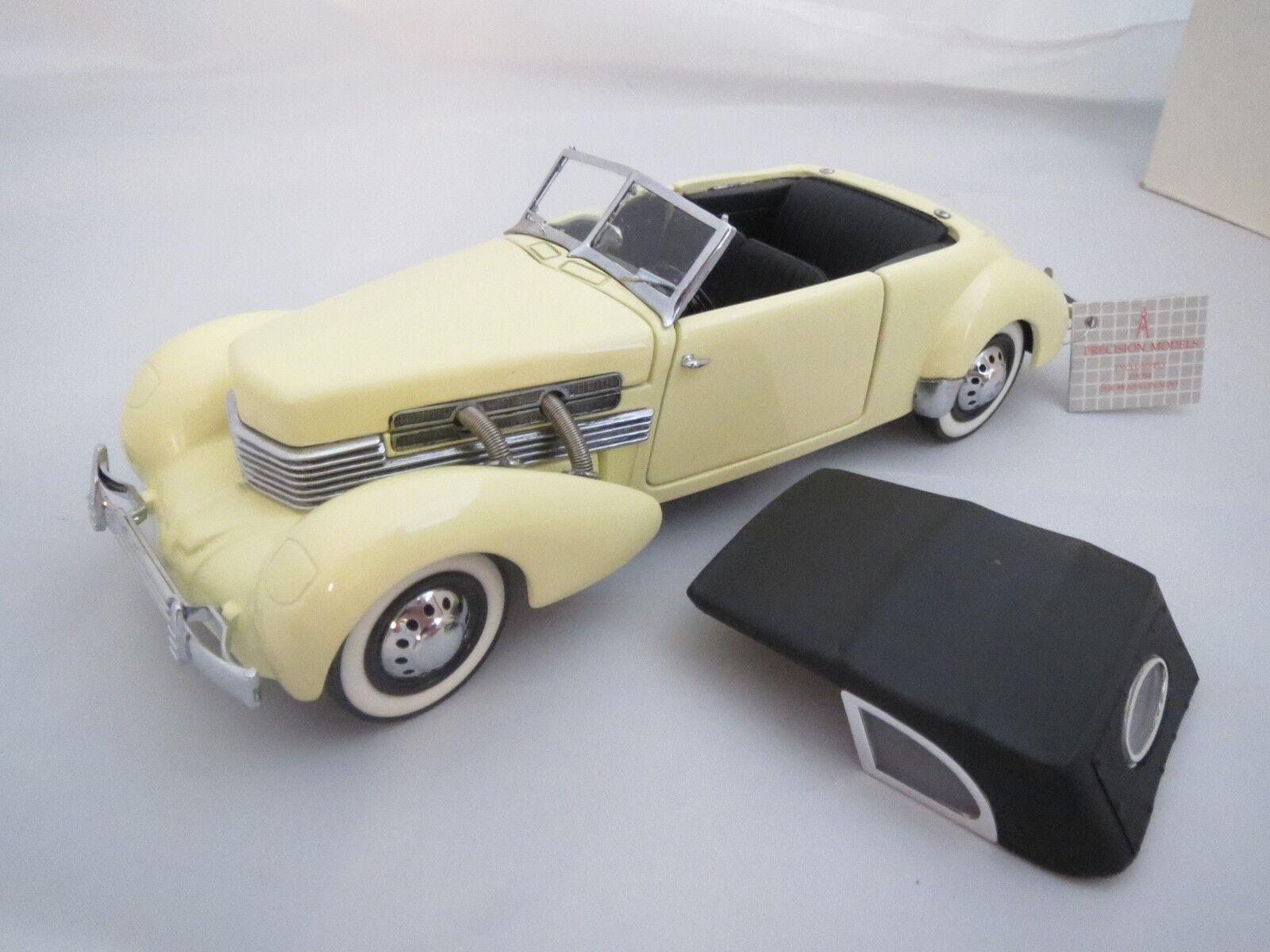 1937 Cord 812 Cabriolet in hellgelb mit schwarzem Soft -Top,1 24, Franklin Mint  | Düsseldorf Eröffnung