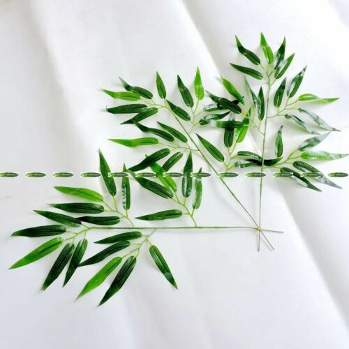 10pcs Latex Artificial Bamboo Plant Tree Leaf Branch Christmas Home Decor