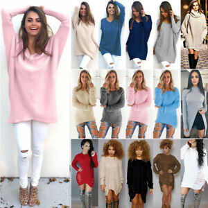 Women-Casual-Loose-Knitted-Sweater-Jumper-Mini-Dress-Pullover-Knitwear-Long-Tops