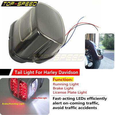Black Head Light Headlight Lamp w//Rear Red Tail Brake license Light for Harley