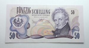 AUSTRIA 50 SCHILLING 1970 OLD BANKNOTE