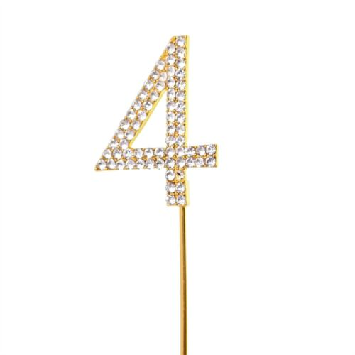 Diamond Cake Topper Birthday Anniversary Gold-Silver Metal Party Decorations