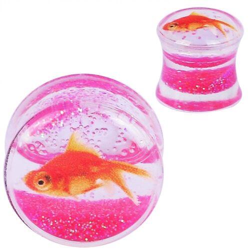 Glow In Dark Acrylic Ear Gauges Skull Tunnel Stone Ear Plugs Fish Expanders Pair