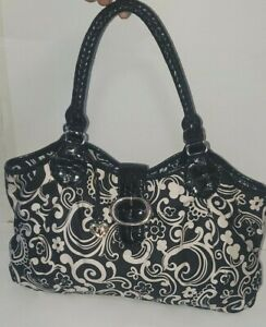 Pre-Owned-Brighton-Black-Paisly-Flowers-LARGE-Nylon-Purse