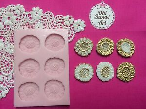 Sunflowers Lace Silicone Mold Food Safe Cake Decoration Candy Cupcake (FDA)
