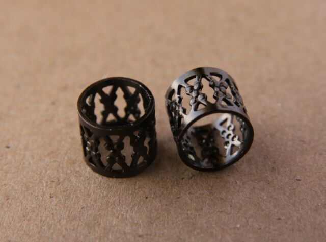 30 9mm (3/8 Inch) Black Filigree Dreadlock Beads Cuffs + Free Stainless Ring