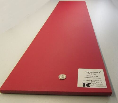 """Polyetylene King/'s Board Red .500/"""" Thick x 11.25/"""" Width x 48.5/"""" Length HDPE"""