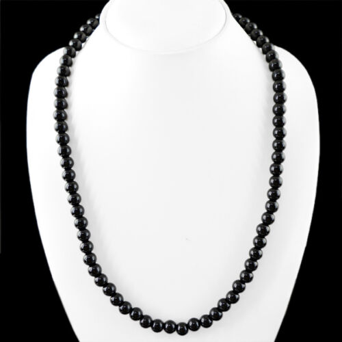 FINEST AAA 268.45 CTS NATURAL RICH BLACK SPINEL UNTREATED ROUND BEADS NECKLACE