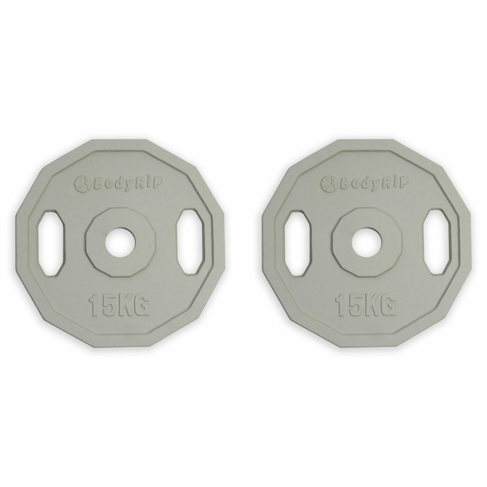 BodyRip Olympic 2 Inch Polygonal Weight Plates 2 x 15KG Discs 12 Sided Shape