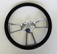 Falcon Thunderbird Galaxie Steering Wheel Black & Billet 14 Ford Center Cap