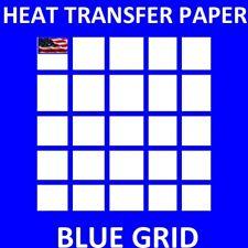 Iron On Inkjet Opaque Heat Transfer Paper For Dark Fabrics Blue Grid 250 Sh A