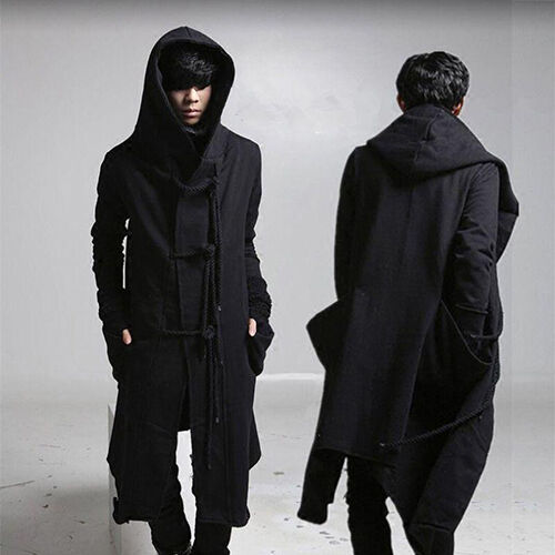 Free Men's Gothic Long Loose Trench Punk Hooded Toggle Personality Coats Outwear
