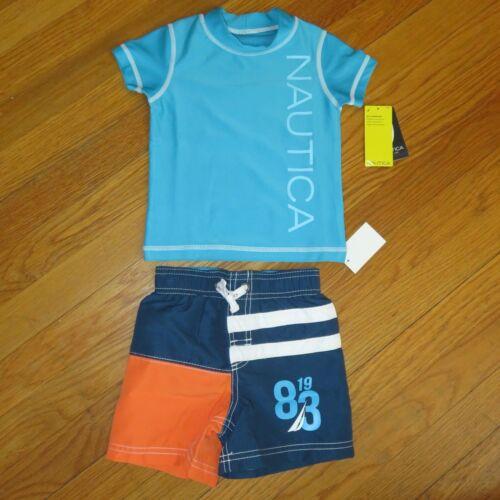 boys Nautica 2 piece bathing//swim suit with UV shirt size 12M brand new NWT $48