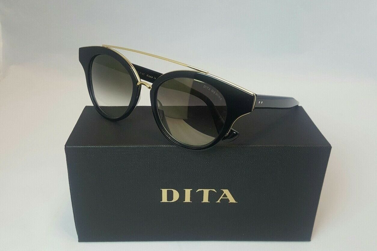 d1a858b995e DITA Medina 22023-a-blk-gld-52 Gloss Black 18k Gold Flash Mirrored ...