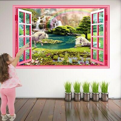 Unicorno Fantasy Foresta Wall Sticker Murale Decalcomania Stampa Arte Girls Room Decor Az43- Per Garantire Una Trasmissione Uniforme