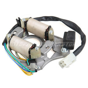 new 2 coil 4 wire stator ignition magneto plate for 50 100. Black Bedroom Furniture Sets. Home Design Ideas