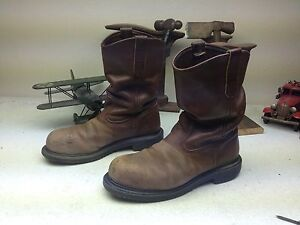 a4f22669dbb Details about RED WING DISTRESSED BROWN LEATHER USA STEEL TOE ENGINEER OIL  RIG BOOTS 8.5 D