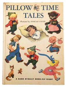 """Pillow Time Tales Dorcas Couri 1954 """"A"""" 1st Printing Giant Elf Rand McNally Book"""