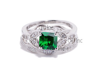 Princess-Green-Emerald-Engagement-Wedding-Nature-Wreath-Sterling-Silver-Ring-Set