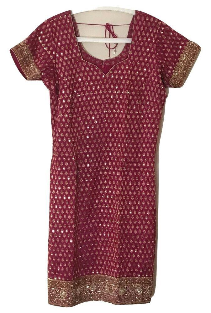 Objectif Indian Punjabi Salwar Kameez Stitched Suit Bordeaux. Taille 16 ChronoméTrage Ponctuel