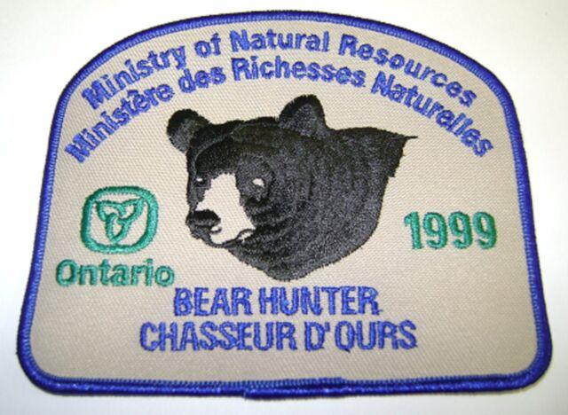 1999 ONTARIO MNR BEAR HUNTING PATCH badge,flash,crest,deer,moose,elk,Canadian
