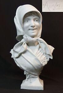 1920-belle-sculpture-buste-statue-biscuit-Angles-femme-au-foulard-37cm3-6k-chic