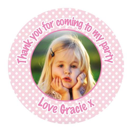 Personnalisé fête d/'anniversaire photo rose fun stickers enfant sweet cake 714